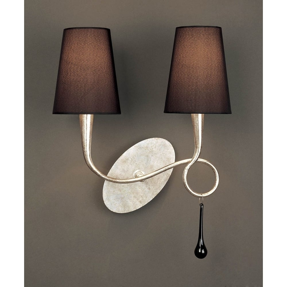 Mantra lighting m0537s paola 2 lt silver switched wall lamp with m0537s paola 2 lt silver switched wall lamp with black shades aloadofball Image collections