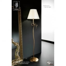 M0543 Paola 1 Light Gold Floor Lamp With Cream Shade