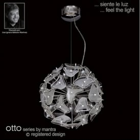 M0590 Otto 41 Light Halogen Chrome And White Ceiling Pendant