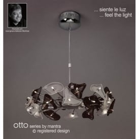 M0701 Otto 24 Light Chrome, White And Black Ceiling Pendant