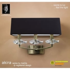 M0788AB/BS Akira Antique Brass 3Lt Wall Lamp With Black Shades