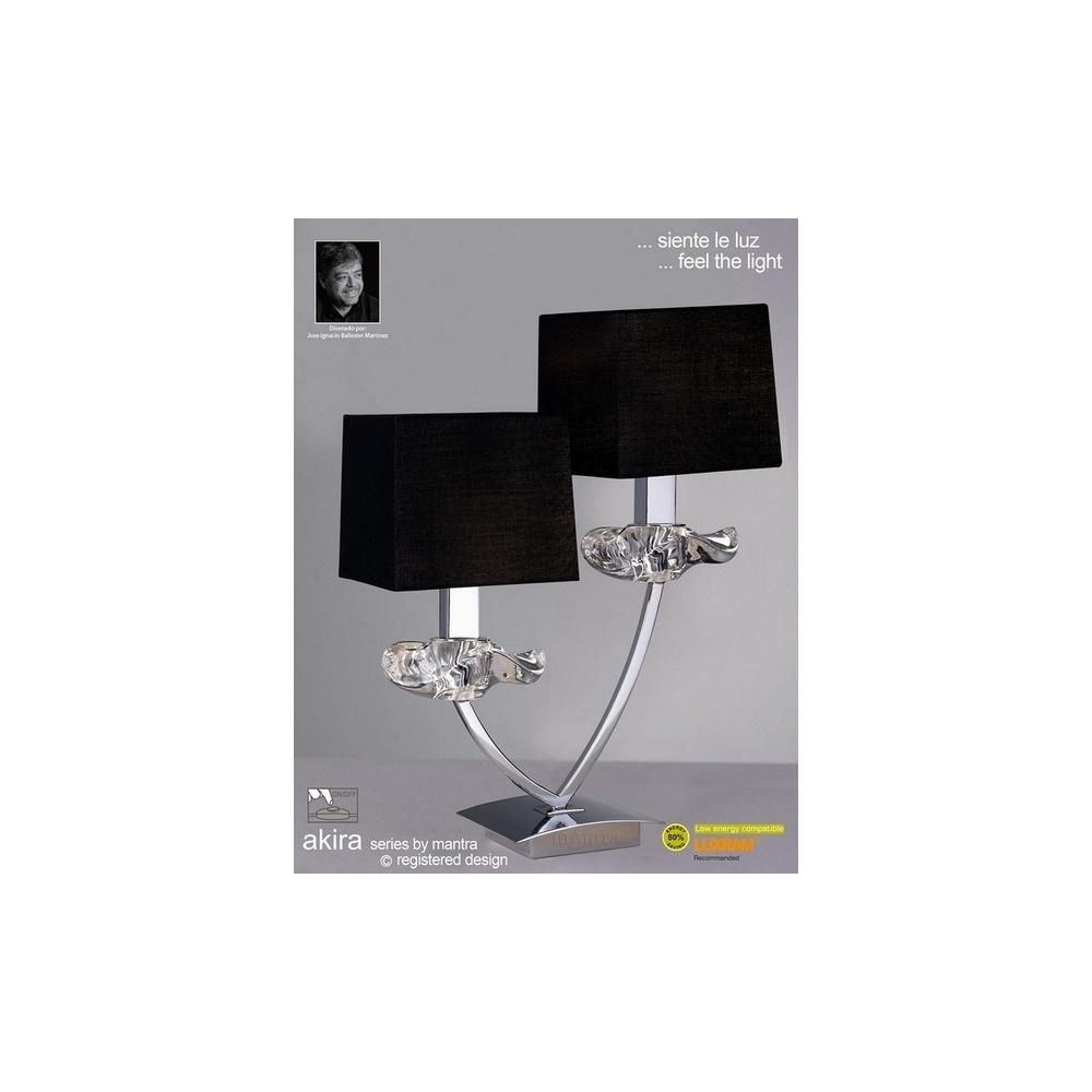 M0790pc akira chrome 2lt table lamp with black shades