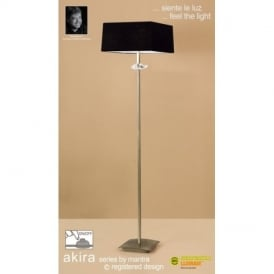 M0791AB/BS Akira Antique Brass 3Lt Floor Lamp With Black Shade