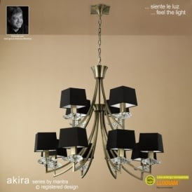 M0792AB/BS Akira Antique Brass 12Lt Chandelier With Black Shades