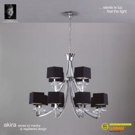 M0792PC Akira Chrome 12Lt Chandelier With Black Shades