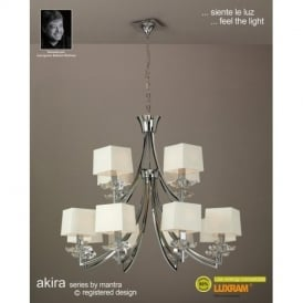 M0792PC/CS Akira Chrome 12Lt Chandelier With Cream Shades