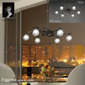 M0801BC Fragma 6 Light Black Chrome Semi-Flush Pendant