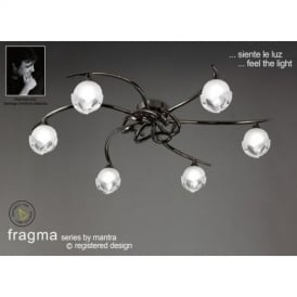 M0806BC Fragma 6 Light Black Chrome Flush Lamp