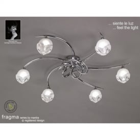 M0806PC Fragma 6 Light Polished Chrome Flush Lamp
