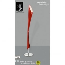 M0915 Pop Low Energy 3 Light Chrome And Gloss Red Floor Lamp