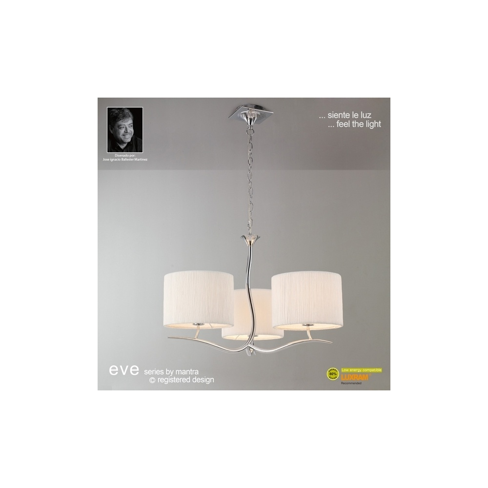 Mantra lighting m1131 eve 3 light chrome pendant with ivory shades m1131 eve 3 light chrome pendant with ivory shades mozeypictures Image collections