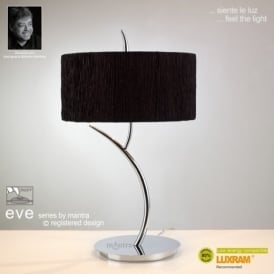 M1137/BS Eve 2 Light Chrome Table Lamp With Black Shade