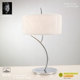 M1137 Eve 2 Light Chrome Table Lamp With Ivory Shade