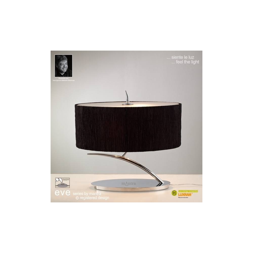 M1138/BS Eve 2 Light Chrome Small Table Lamp With Black Shade