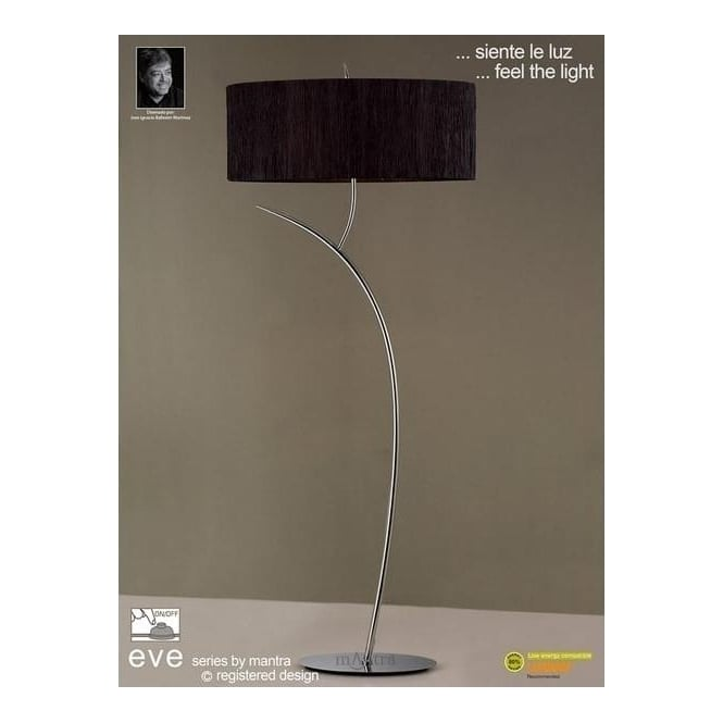 Mantra Lighting M1139/BS Eve 2 Light Chrome Floor Lamp With Black Shade