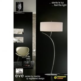 M1139 Eve 2 Light Chrome Floor Lamp With Ivory Shade