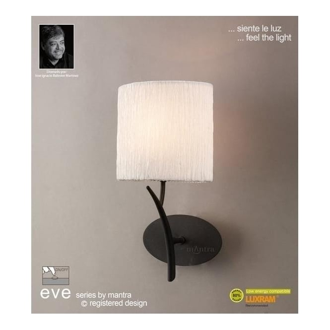 Mantra Lighting M1154/S Eve 1 Lt Anthracite Switched Wall Lamp With Ivory Shade