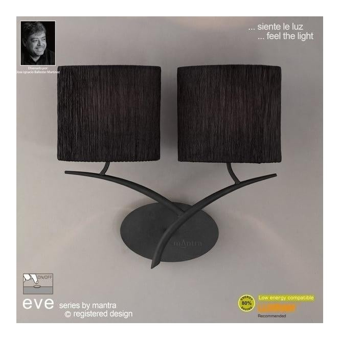 Mantra Lighting M1155/BS/S Eve 2Lt Anthracite Switched Wall Lamp With Black Shades