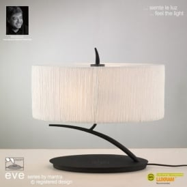 M1158 Eve 2 Lt Anthracite Small Table Lamp With Ivory Shade