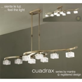 M2358AB Cuadrax 8 Light Antique Brass Ceiling Semi-Flush