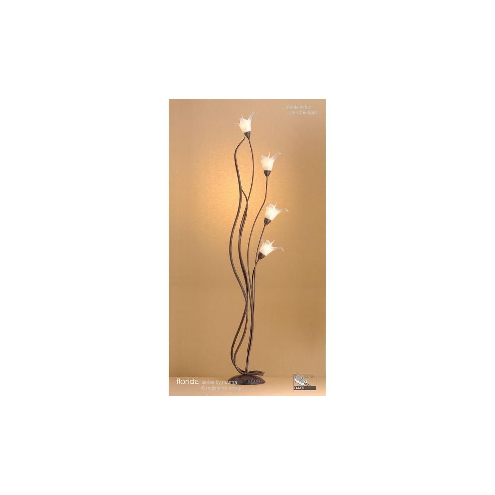 Mantra lighting m4357 florida 4 light black brown floor for Mantra 5 light floor lamp