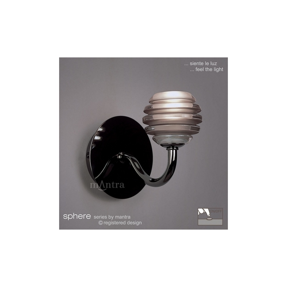 Mantra lighting m8005 sphere black chrome 1 light switched wall lamp m8005 sphere black chrome 1 light switched wall lamp aloadofball Gallery