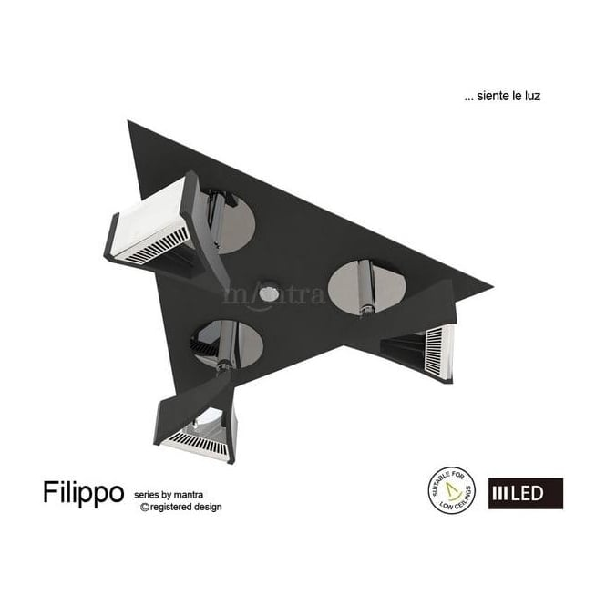 Mantra Lighting M8104 Filippo LED 3 Light Wall/Ceiling Spotlight in Chrome