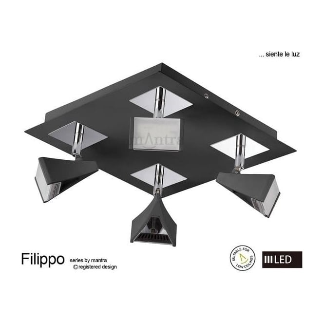 Mantra Lighting M8105 Filippo LED 4 Light Wall/Ceiling Spotlight in Chrome