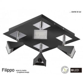 M8105 Filippo LED 4 Light Wall/Ceiling Spotlight in Chrome
