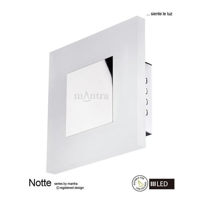 Mantra Lighting M8122 Notte LED 1 Light Recessed Wall/Ceiling Light Chrome