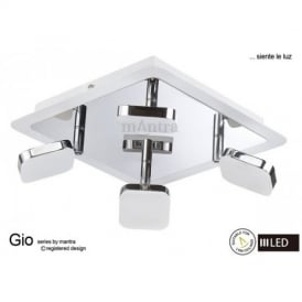 M8182 Gio LED 4 Light Square Wall/Ceiling Spotlight Chrome