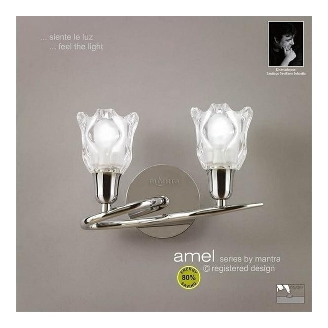 Mantra Lighting M8581PC Amel Low Energy 2 Light Polished Chrome Wall Lamp