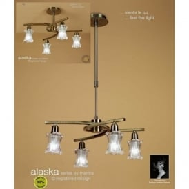 M8607AB Alaska Low Energy 4 Light Antique Brass Semi-Flush Pendant