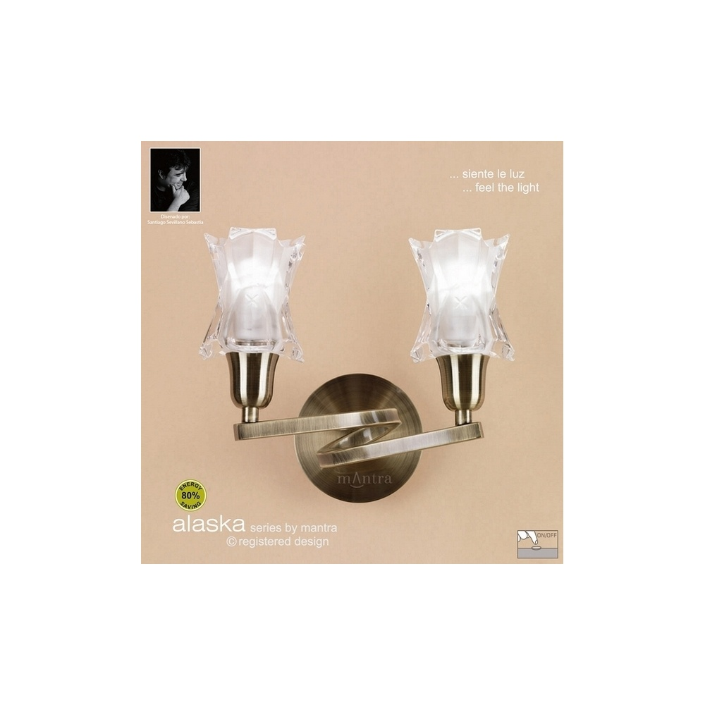 Wall Lights Low Energy : Mantra Lighting M8614AB Alaska Low Energy 2 Light Antique Brass Wall Lamp - Lighting from The ...