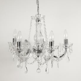 Marie Therese Classic 5 Arm Crystal Chandelier Ceiling Light