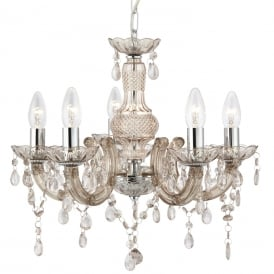 Marie Therese Mink Ceiling Chandelier In Chrome Finish With Acrylic Glass Decoration 1455-5MI