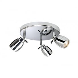Marine Chrome 3 Way IP44 Bathroom Ceiling Spotlight