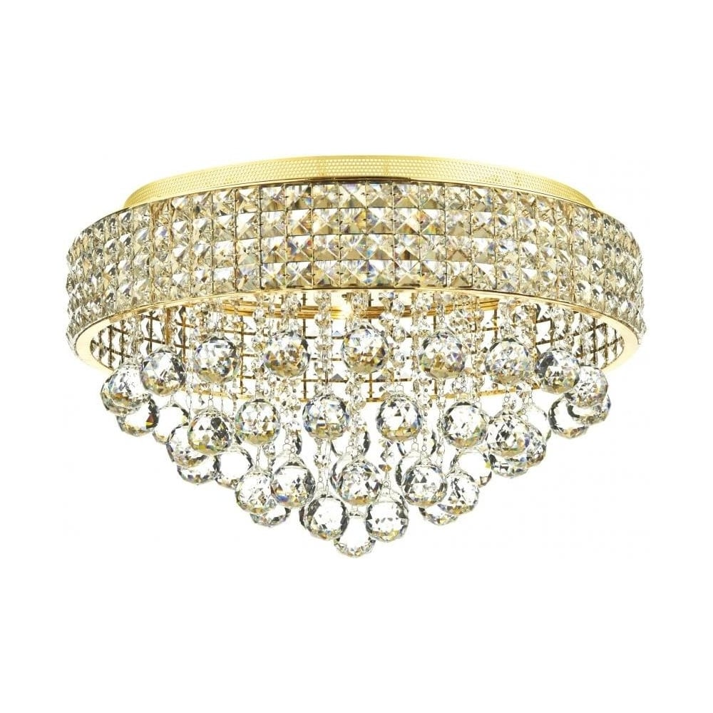 Matrix 5 light gold and crystal flush ceiling light mat5435