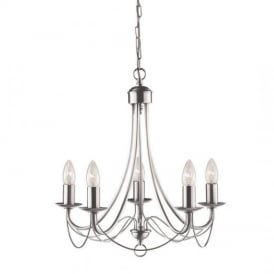 Maypole 5 Light Multi Arm Ceiling Light in Satin Silver Finish 6345-5SS