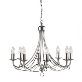 Maypole 8 Light Multi Arm Ceiling Light in Satin Silver Finish 6348-8SS