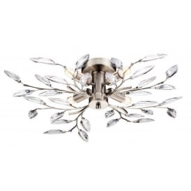 Meadow Decorative Semi Flush Ceiling Light in Brushed Silver Finish