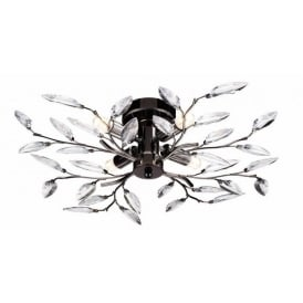 Meadow Decorative Semi Flush Ceiling Light in Pewter Finish