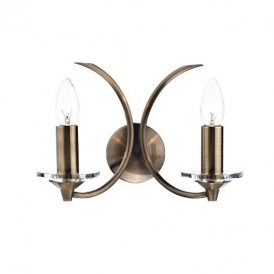 MED0975 Medusa 2 Light Crystal Wall Bracket in Antique Brass