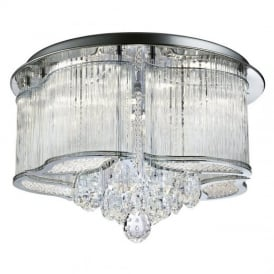 Mela Crystal and Glass Flush Ceiling Light in Polished Chrome Finish 7985-48CC