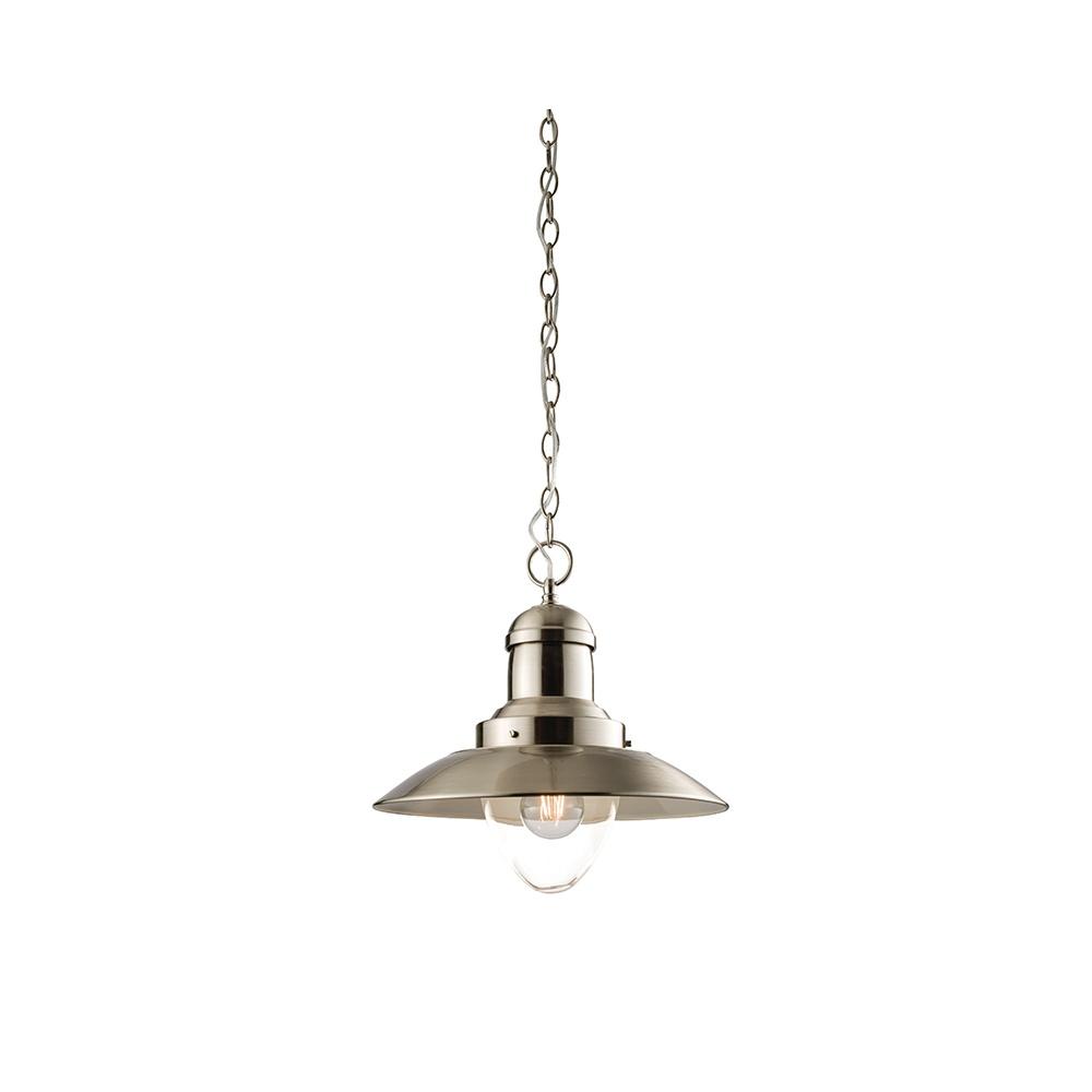 Endon Mendip Vintage Ceiling Pendant Light In Satin Nickel
