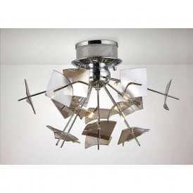 Meridian Modern Semi Flush Ceiling Light In Polished Chrome Finish IL31640