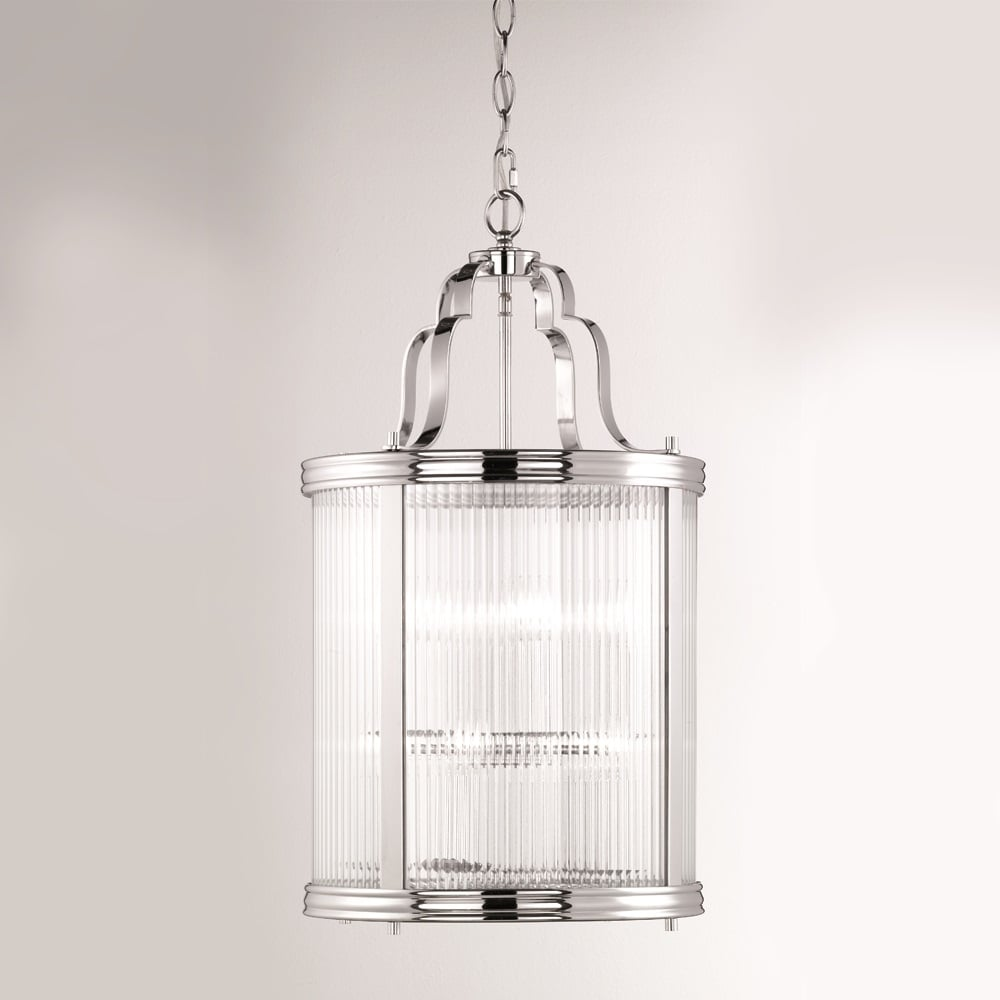 Merton 8 light ceiling lantern pendant in chrome with clear reeded glass panels