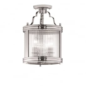 Merton Ceiling Semi Flush Fitting In Chrome Finish With Clear Ribbed Glass LA7015