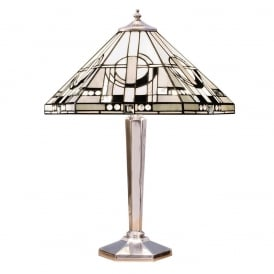 Metropolitan Tiffany Black And White Glass Medium Table Lamp In Aluminium Finish 64260
