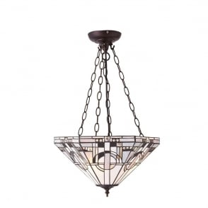 Metropolitan Tiffany Medium Inverted Ceiling Pendant In Black White And Grey 70777